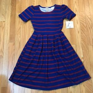 LULAROE Amelia NWT XXS blue red dress
